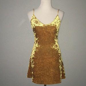 Gold crushed Velvet dress small